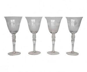 Demeure et Jardin - ensemble de 4 verres a vin gravés - Calice