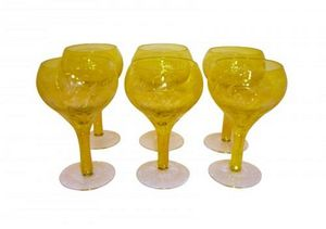 Demeure et Jardin - set de 6 verres a pied jaunes - Bicchiere