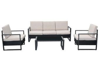 WHITE LABEL - salon de jardin noir/ecru - botana - l 178 x l 68 - Salotto Da Giardino