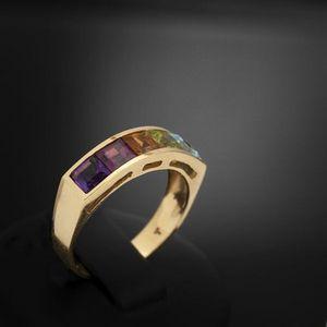 Expertissim - bague bandeau et pierres de couleur - Anello