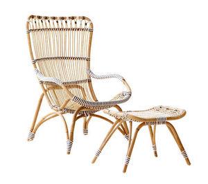 Sika design - fauteuil avec repose-pieds chantal en rotin et fib - Poltrona Da Giardino