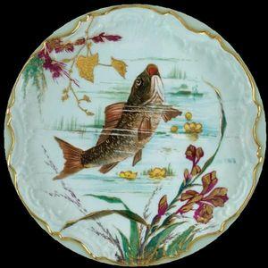 Au Bain Marie - assiette en tôle poisson carrassin - Piatto Decorativo