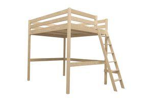 ABC MEUBLES - abc meubles - lit mezzanine sylvia avec échelle bois brut 90x200 - Letto A Soppalco