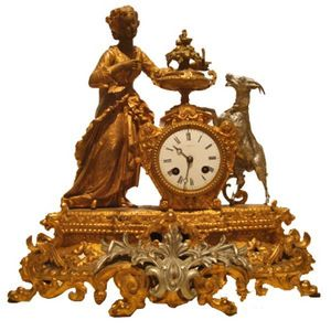 Antiquités SANT VICENS - pendule en régule - Orologio Da Tavolo