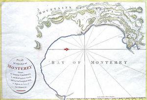 ARADER GALLERIES - carte de la baie de monterey, n. califor - Carta Geografica