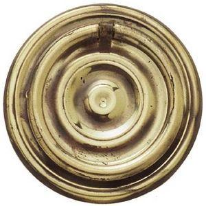 FERRURES ET PATINES - poignee de meuble avec applique ronde en laiton re - Maniglia Per Mobile