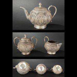 Expertissim - service à thé en métal argenté. travail indien, xx - Servizio Da Tè