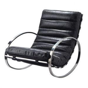 Maisons du monde - fauteuil à bascule cuir noir freud - Sedia A Dondolo