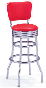 US Connection - tabouret de bar 215-782 rouge avec dossier - Sgabello Da Bar