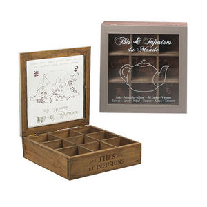 WHITE LABEL - boîte à tea time 9 cases en pin avec couvercle - Scatola Da Tè