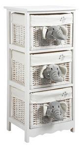 Aubry-Gaspard - commode 3 tiroirs éléphants en bois et osier 41x32 - Cassettiera Bambino