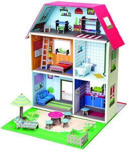 EXKLUSIVES FUR KIDS - maison de poupée murielle en carton recyclé 40x51x - Casa Delle Bambole