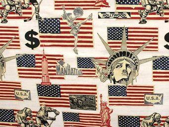 Le Quartier des Tissus - tissu imprime drapeaux usa - Tessuto Stampato