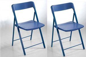 WHITE LABEL - lot de 2 chaises pliantes kully en plastique bleu - Sedia Pieghevole