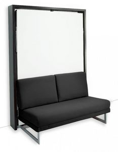 WHITE LABEL - armoire lit verticale magic canapé intégré microfi - Letto A Scomparsa