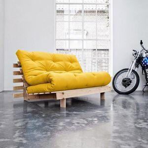 WHITE LABEL - canapé bz style scandinave roots futon jaune couch - Divano Letto Con Apertura A Scorrimento