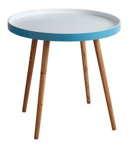 Aubry-Gaspard - table d'appoint en bois et mdf laqué bleu - Tavolino Di Servizio