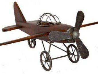Antic Line Creations - avion déco en bois et métal - Modellino