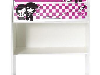 WHITE LABEL - bureau cylindre à rideau blanc - curtys n°4 - l 85 - Scrivania Bambino