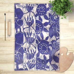 la Magie dans l'Image - foulard végétal bleu blanc - Foulard Quadrato