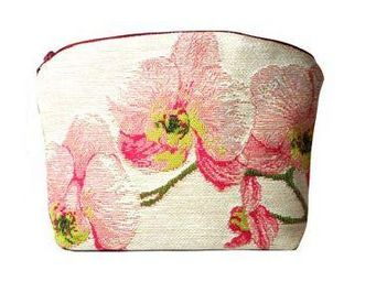 Art De Lys - orchidées roses, fond blanc - Trousse Per Il Trucco