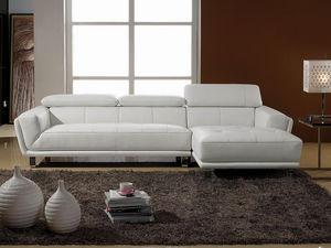 WHITE LABEL - canapé cuir angle celine - Divano Componibile