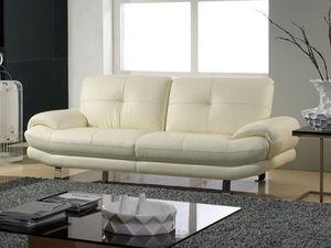 WHITE LABEL - canapé cuir 3 places swan - Divano 3 Posti