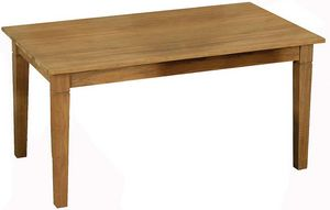 AUBRY GASPARD - table en teck ciré avec rallonges - Tavolo Da Pranzo Rettangolare