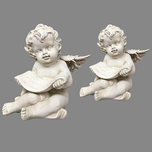 CHEMIN DE CAMPAGNE - 2 anges chérubins en résine dure pleine lecture 10 - Statuetta