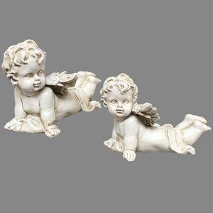 CHEMIN DE CAMPAGNE - 2 anges chérubins en résine dure pleine 11 cm - Statuetta