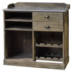 CHEMIN DE CAMPAGNE - meuble bahut bar billot avec tiroirs en bois zinc  - Mobile Bar