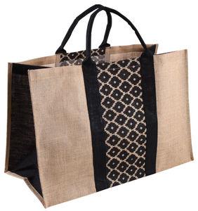 Aubry-Gaspard - sac à bûches en jute plastifiée naturel et noir - Sacca Portalegna