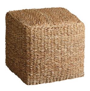 Aubry-Gaspard - pouf carré en jonc de mer - Pouf