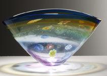 Martin Andrews Glass Designs - salsa collection aqua / gold oval bowl - Coppa Decorativa