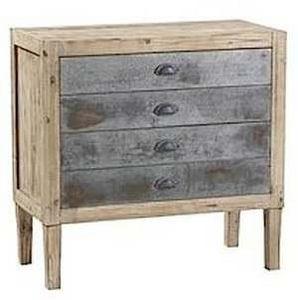 Mathi Design - commode 4 tiroirs bois et zinc - Comò / Cassettone