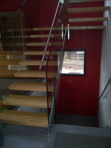 TRESCALINI - Scala a doppia rampa-TRESCALINI-Skystep/Elite : escalier demi tour inox verre bois